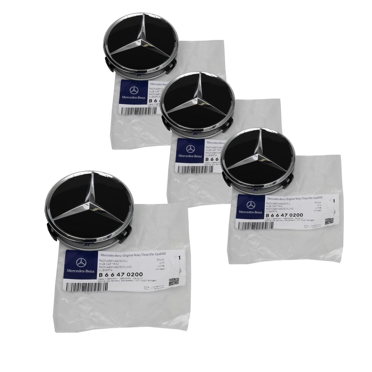 4x ORIGINAL Mercedes-Benz Nabendeckel Felgendeckel Ø 75 mm SCHWARZ 66470200