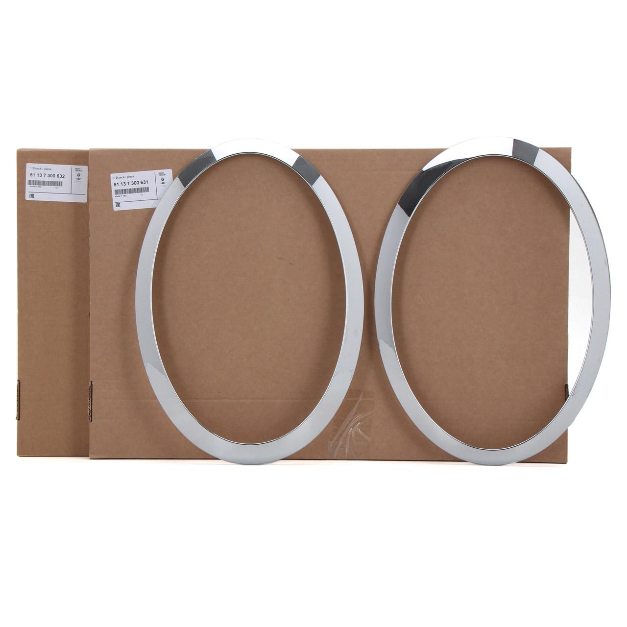 2x ORIGINAL Mini Zierring Ring Scheinwerfer CHROM F55 F56 F57 links + rechts