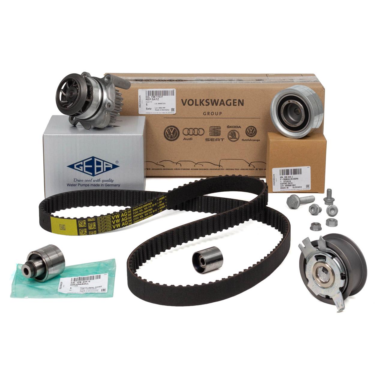 ORIGINAL VW Zahnriemensatz 03L198119F + GEBA Wasserpumpe 03L121011PX für 1.6/2.0 TDI