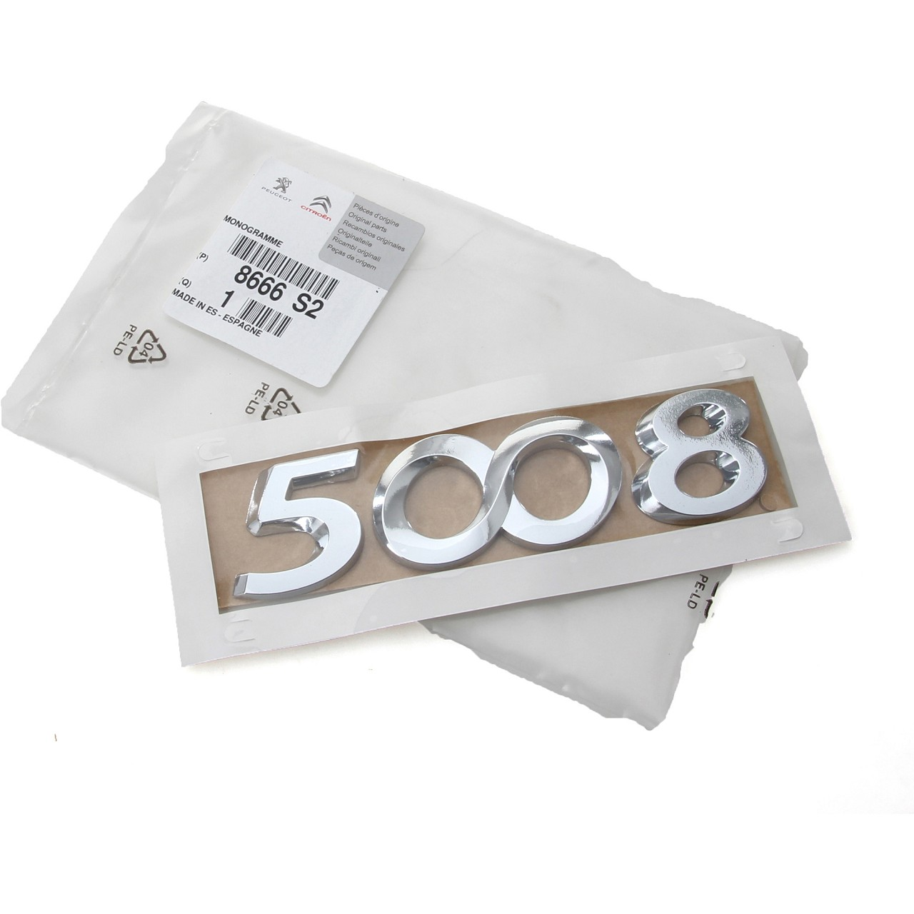 ORIGINAL Peugeot Emblem Plakette Logo Schriftzug Heckklappe 5008 8666.S2