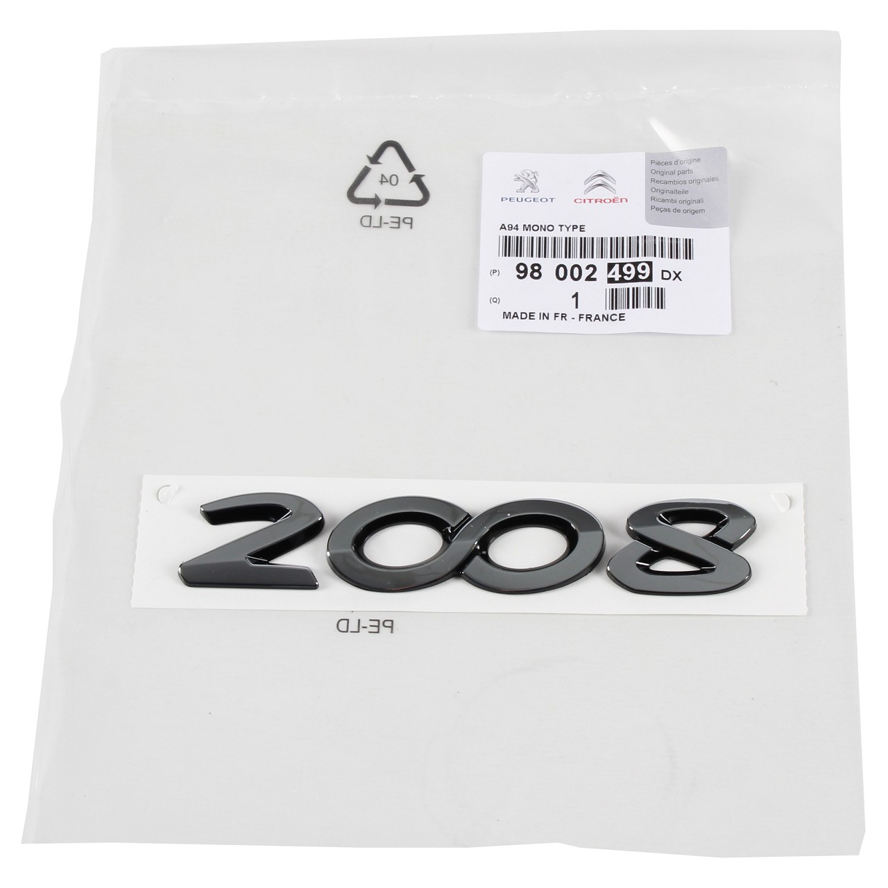 ORIGINAL Peugeot Emblem Logo Schriftzug Heckklappe 98002499DX für 2008