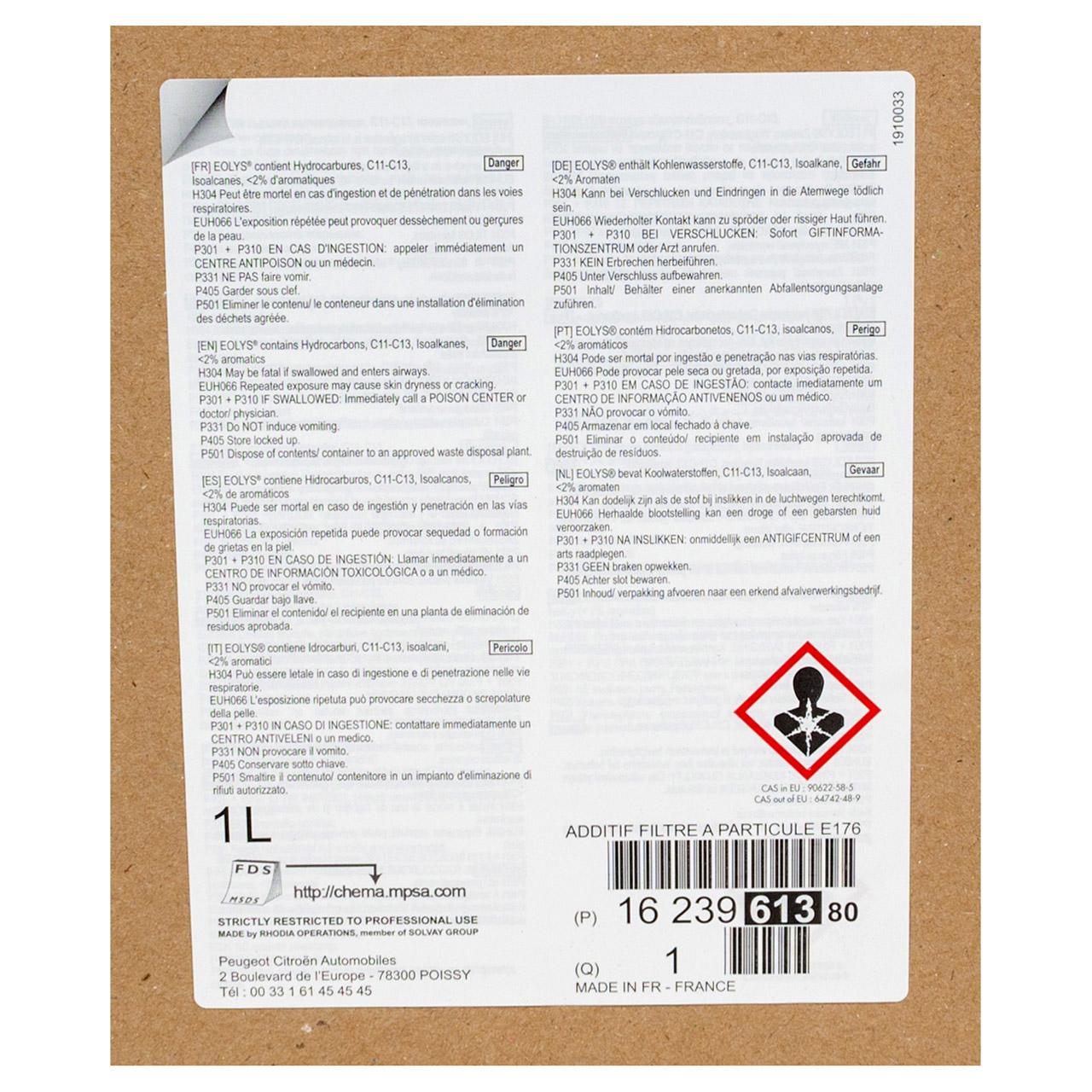 ORIGINAL Citroen Peugeot Kraftstoffadditiv Additiv Eolys 176 1000ml 1623961380