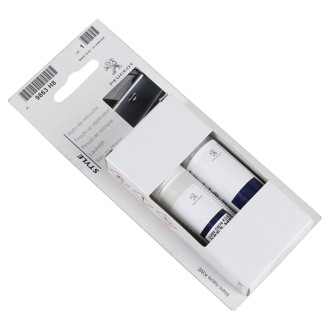 ORIGINAL Peugeot Lackstift Set PERLMUTT WEISS KWE + 12ml Klarlack 1649608780