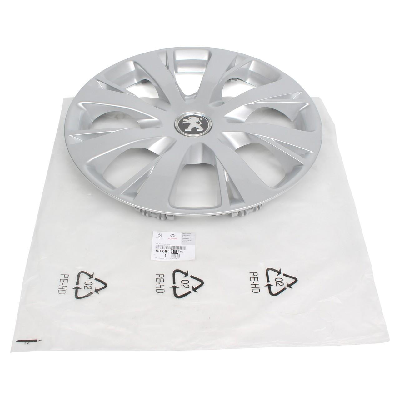 ORIGINAL Peugeot Radkappe Radblende SILBER 15 Zoll NIOBIUM 98084914TW für 208