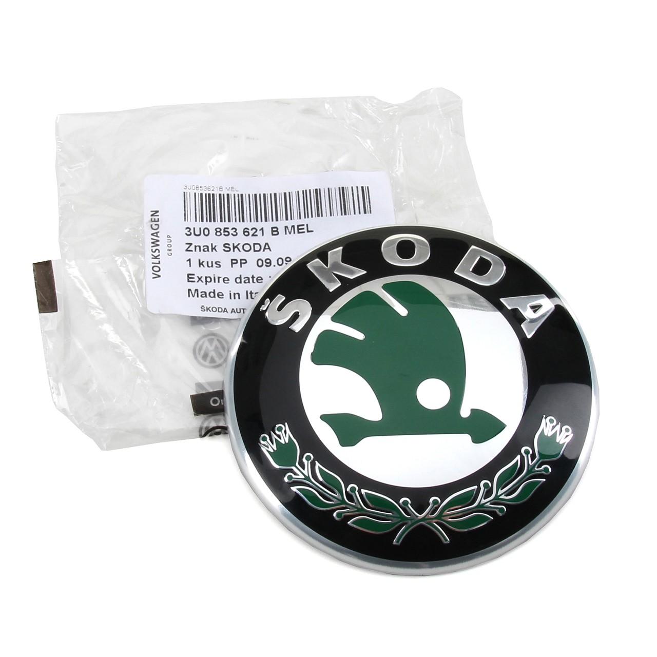 ORIGINAL Skoda Emblem FABIA 2 3 OCTAVIA 1 2 RAPID SUPERB 1 vorne 3U0853621B MEL