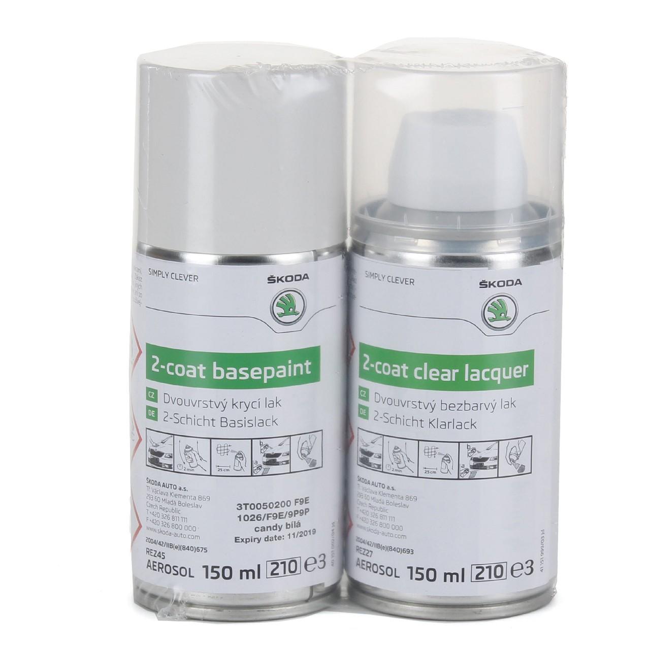 ORIGINAL SKODA Lackspray-Set Candy-Weiß 3T0050200F9E 9P9P