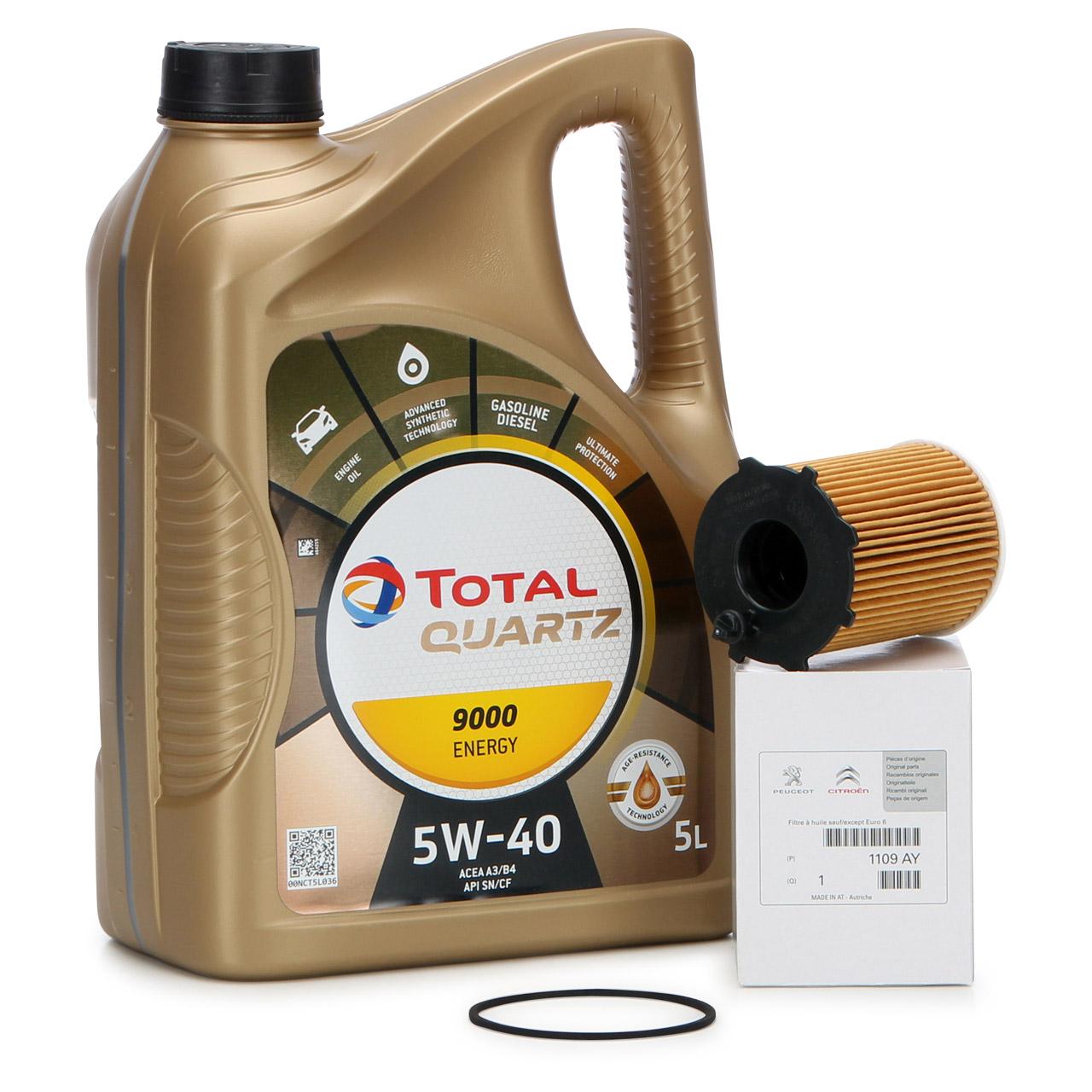 TOTAL QUARTZ 9000 ENERGY 5W-40 5 L + ORIGINAL Citroen Peugeot Ölfilter 1109.AY