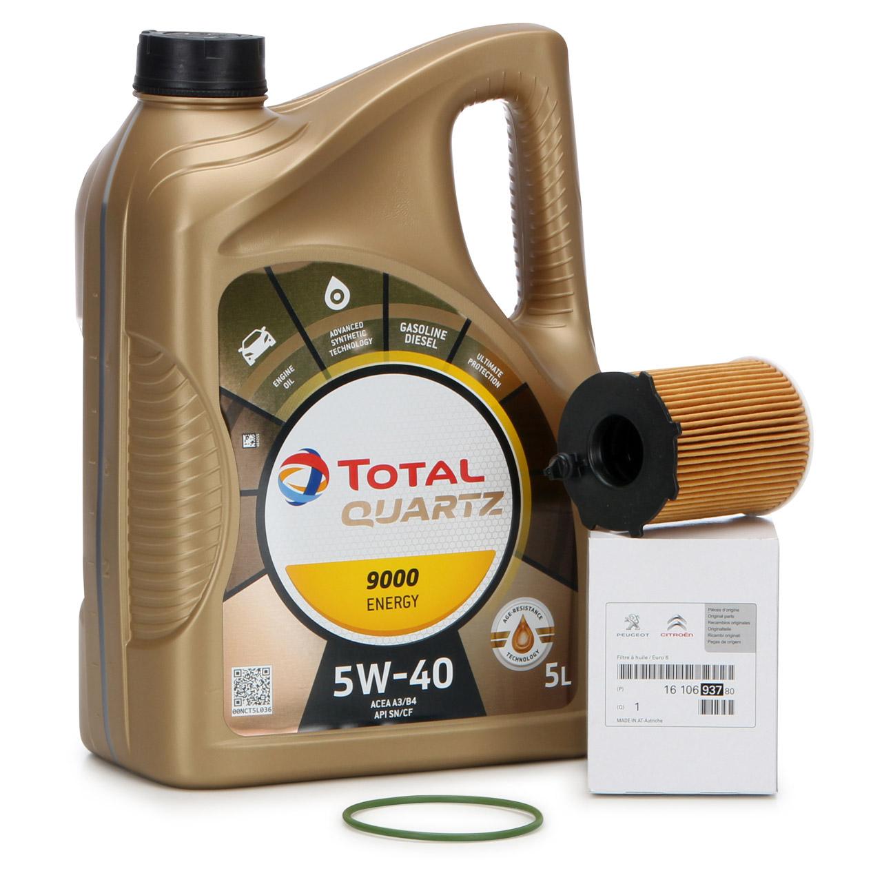 TOTAL QUARTZ 9000 ENERGY 5W-40 5 L + ORIGINAL PSA Ölfilter 1610693780