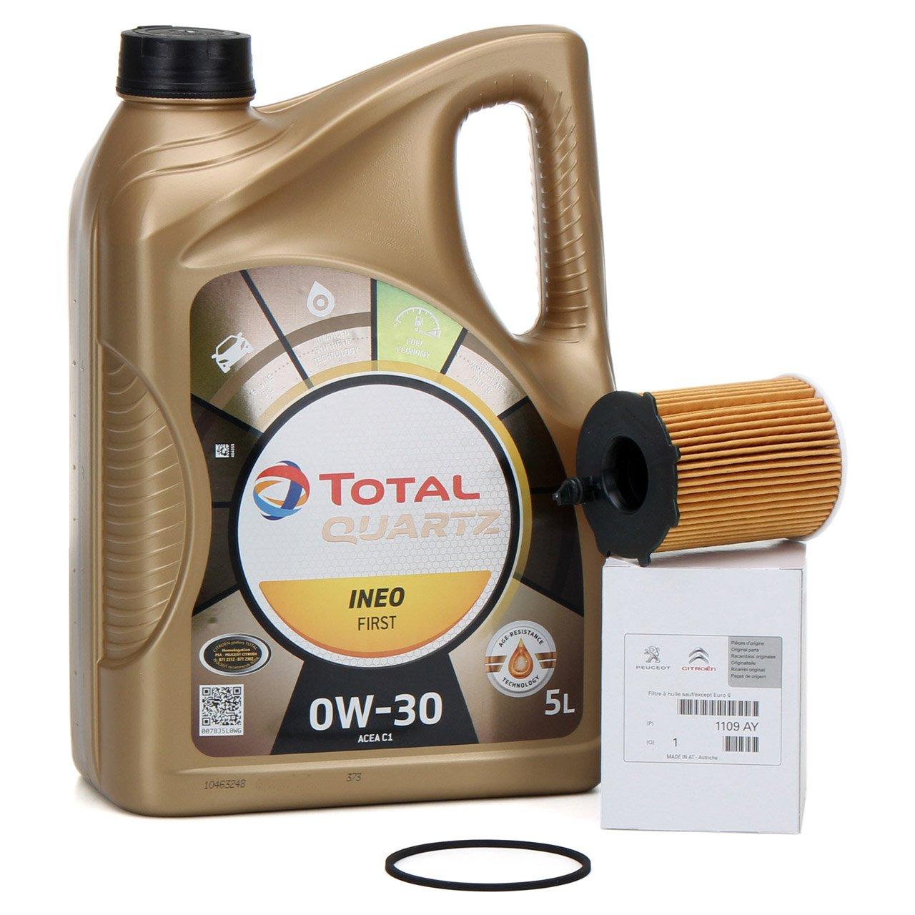 TOTAL QUARTZ INEO FIRST 0W-30 5 L + ORIGINAL Citroen Peugeot Ölfilter 1109.AY
