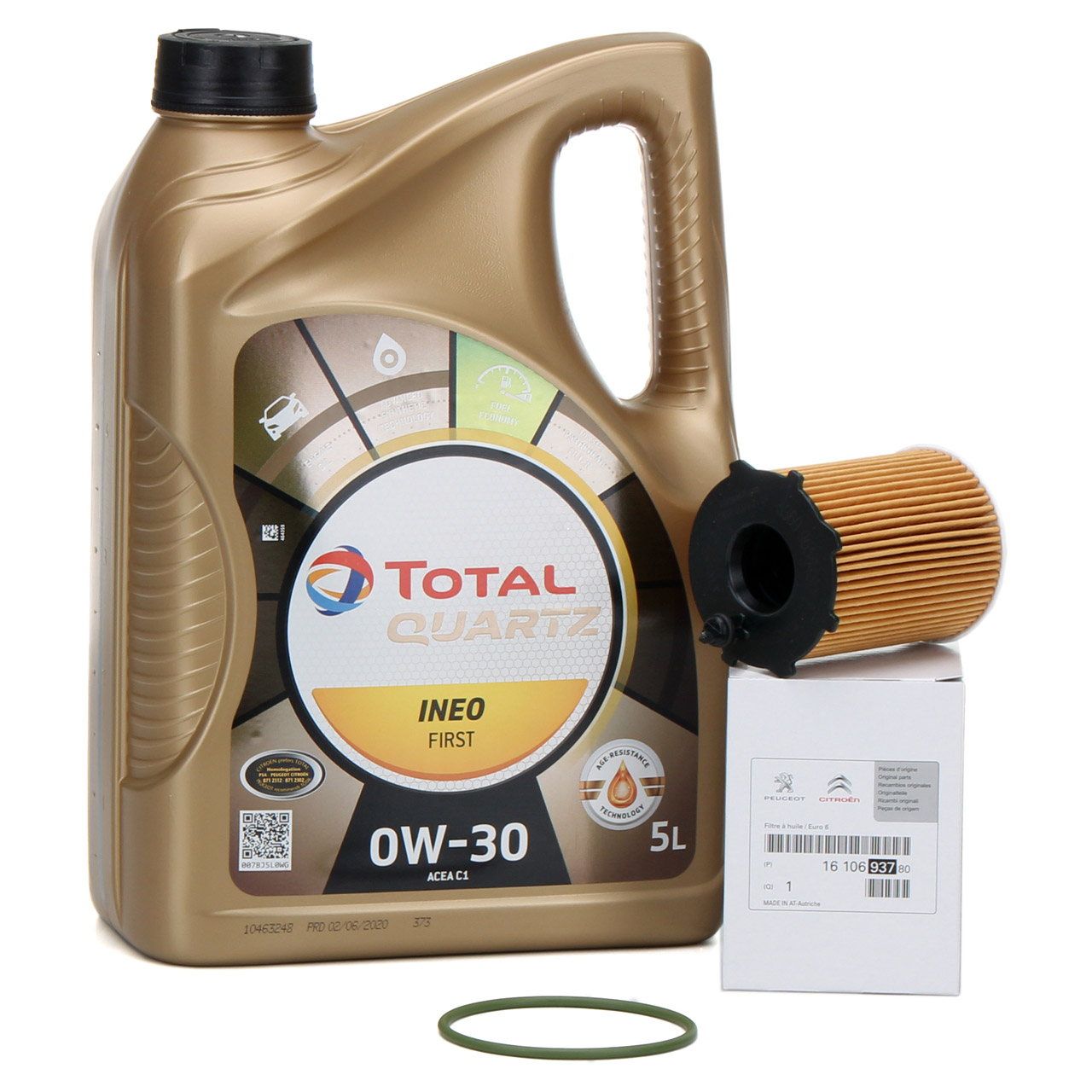 TOTAL QUARTZ INEO FIRST 0W-30 5 L + ORIGINAL Citroen Peugeot Ölfilter 1610693780