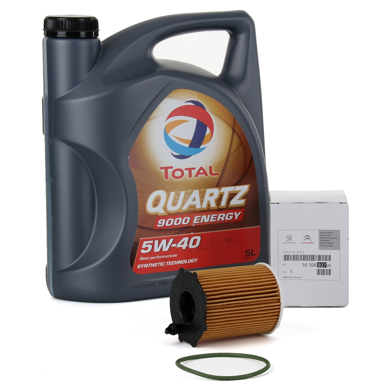TOTAL QUARTZ 9000 ENERGY 5W-40 5 L + ORIGINAL PSA Ölfilter 1610693780