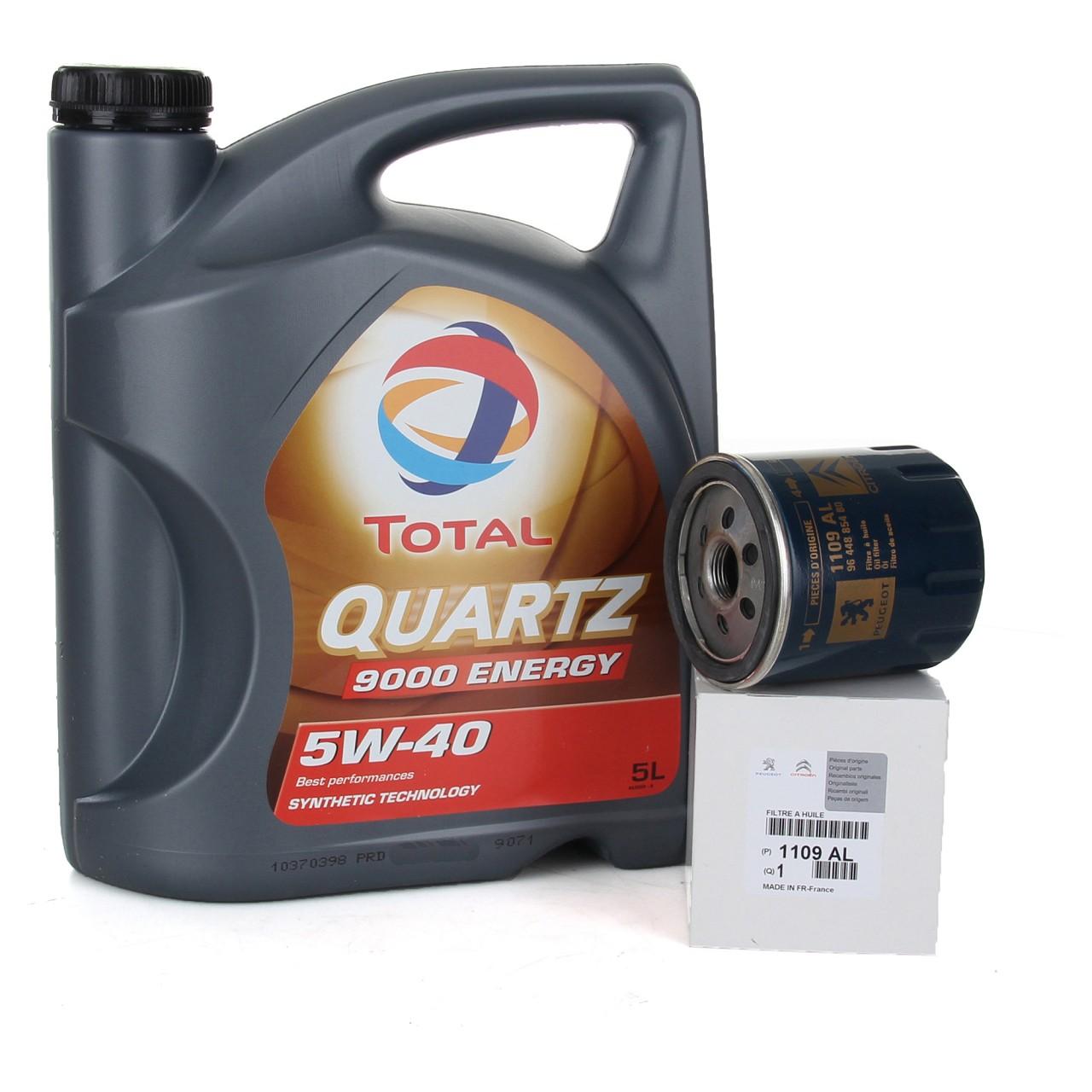 TOTAL QUARTZ 9000 ENERGY 5W-40 5 L + ORIGINAL Citroen Peugeot Ölfilter 1109.AL
