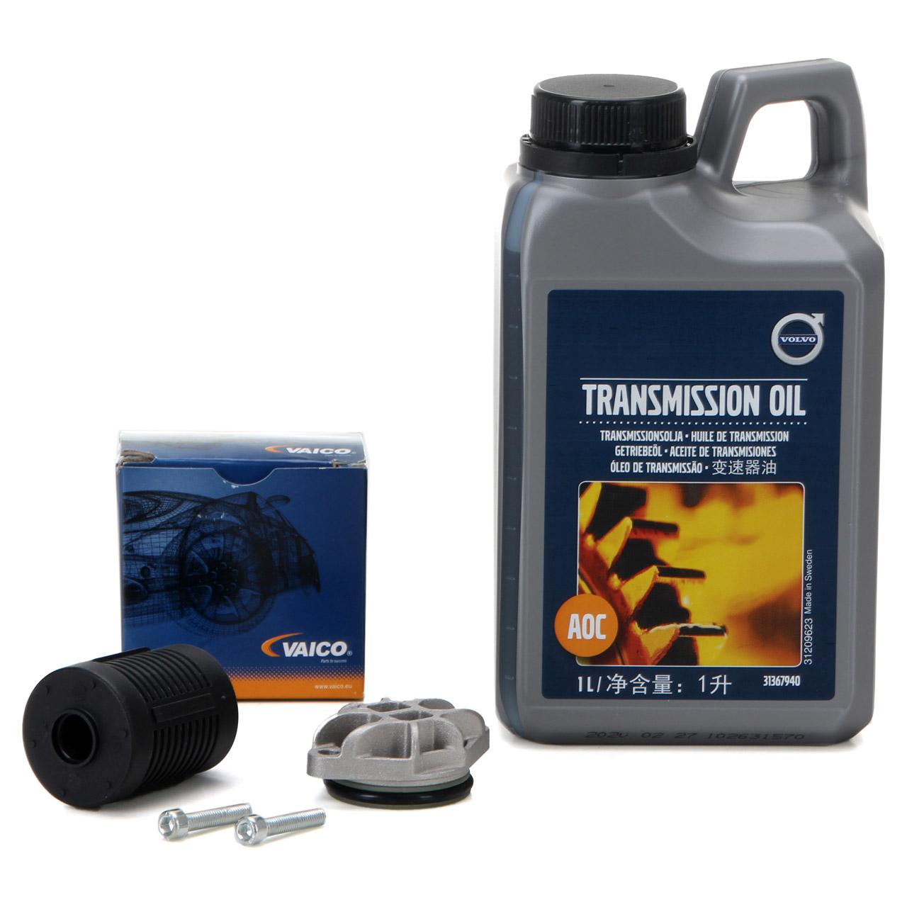 ORIGINAL Volvo Getriebeöl Haldex Kupplung 1 L + VAICO Hydraulikfilter 31325173