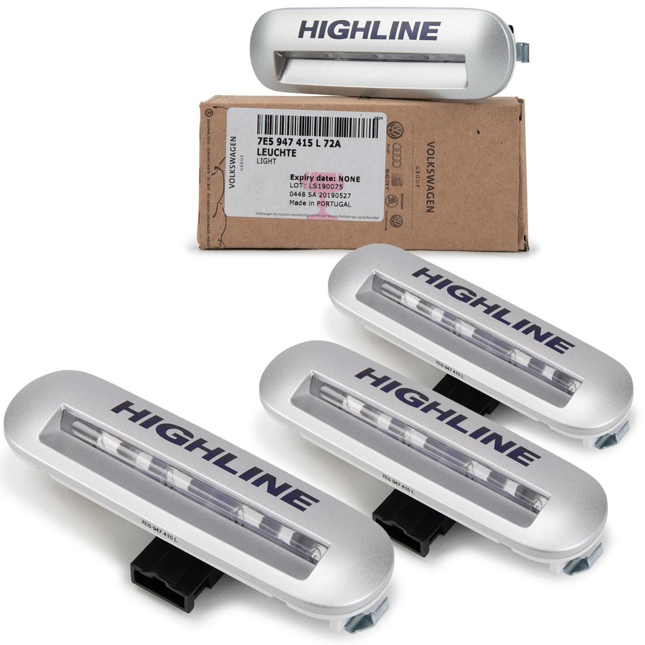 4x ORIGINAL VW Einstiegsbeleuchtung HIGHLINE TRANSPORTER T5 T6 7E5947415L72A