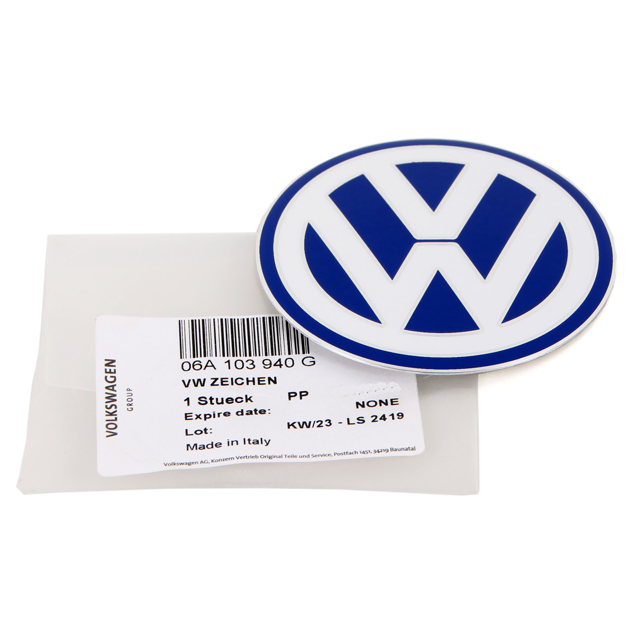 ORIGINAL VW Emblem Logo Motoabdeckung BORA 1J CADDY 3 GOLF 5 6 JETTA 3 EOS 06A103940G