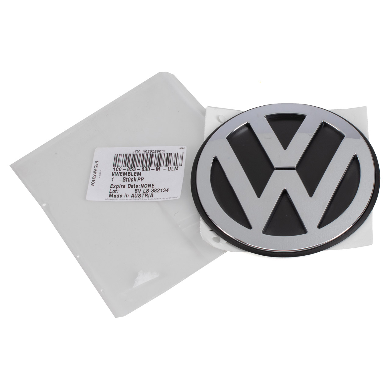 ORIGINAL VW Emblem Logo CHROM SCHWARZ New Beetle ab Baujahr 2006 hinten 1C0853630M ULM