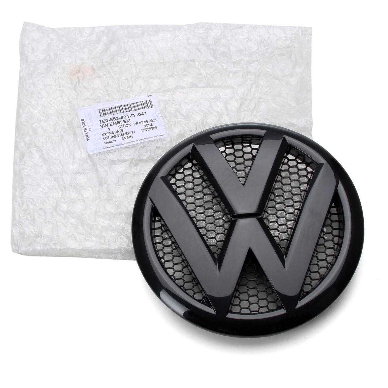 ORIGINAL VW Emblem Logo Kühlergrill Schwarz Transporter T5 vorne 7E0853601D 041