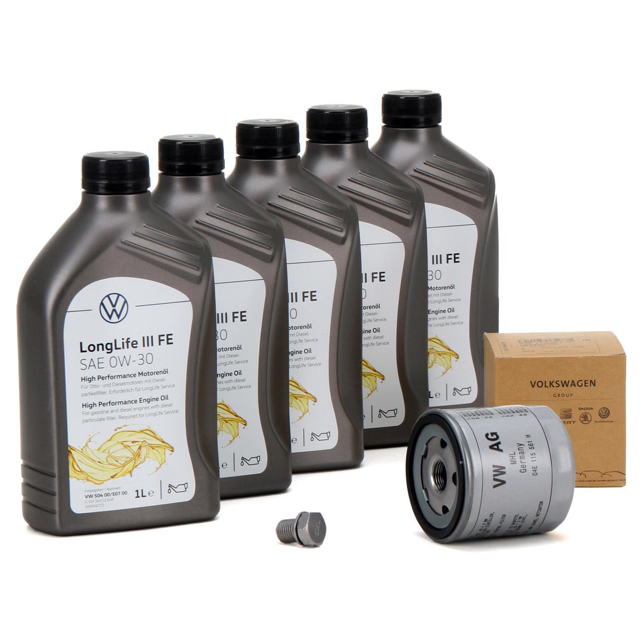 ORIGINAL VW Motoröl 0W30 LONGLIFE III FE 504.00 507.00 5L + Ölfilter 04E115561H