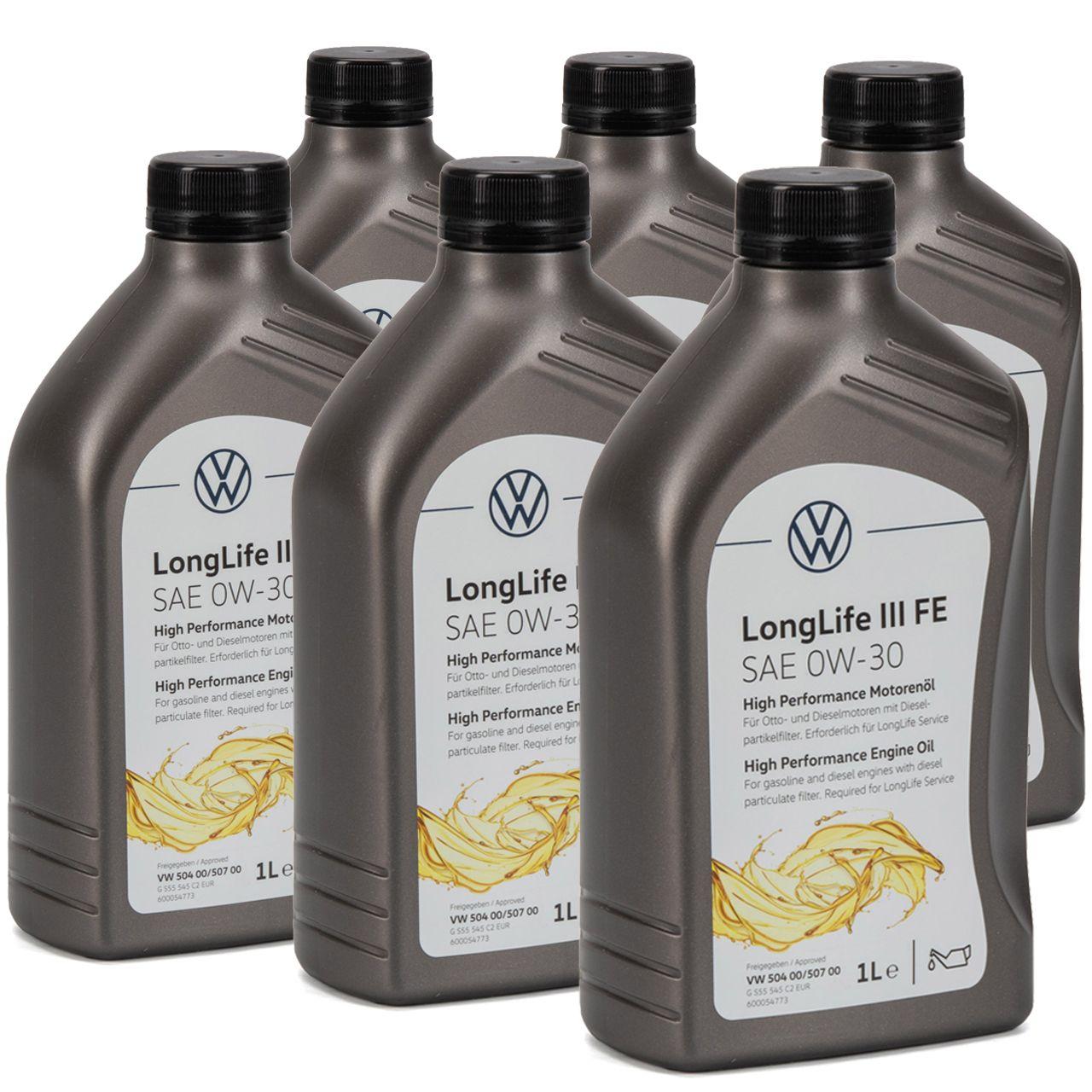 ORIGINAL VW Motoröl Öl 0W-30 LONGLIFE III FE 504.00 507.00 GS55545C2 - 6 Liter