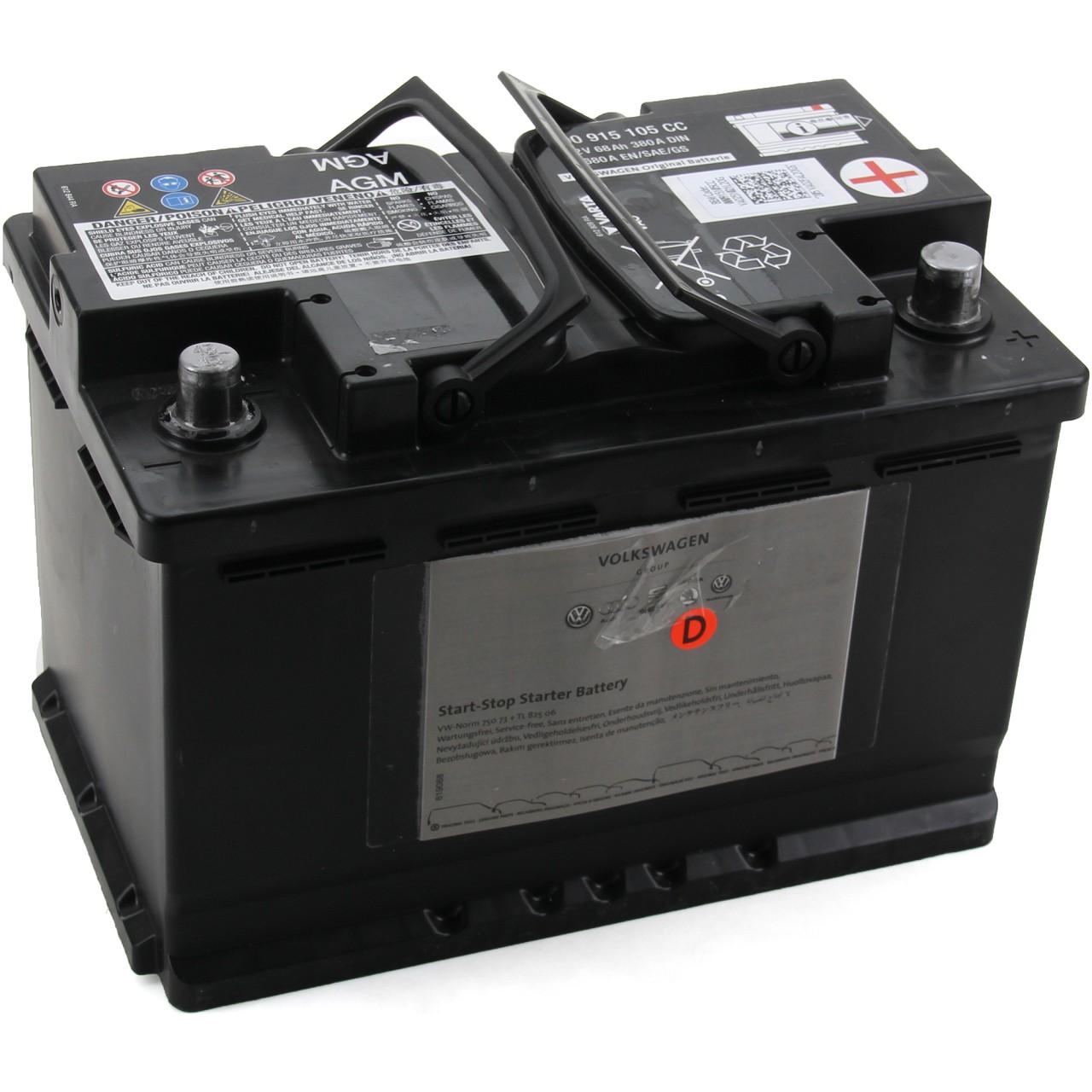 ORIGINAL VW Autobatterie Batterie Starterbatterie 12V 68Ah 380/680A 000915105CC